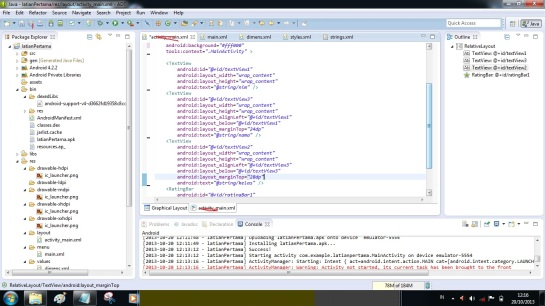 panggil variable yang tadi di bikin di file activity_main.xml